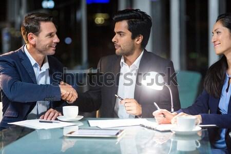 Empresário aperto de mãos colega escritório mulher homem Foto stock © wavebreak_media