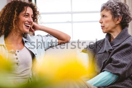 çift konuşma diğer kahvehane gülen bilgisayar Stok fotoğraf © wavebreak_media