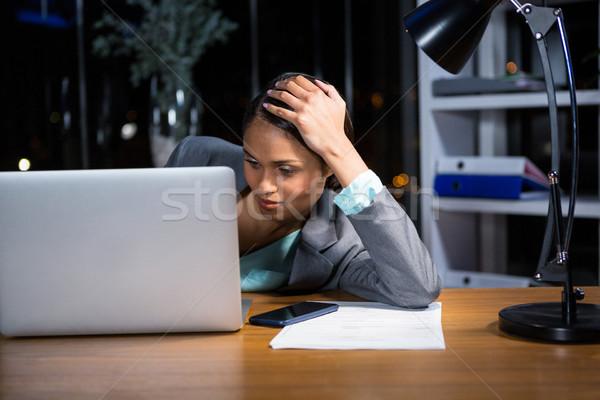 Yorgun işkadını uyku büro ofis gece Stok fotoğraf © wavebreak_media