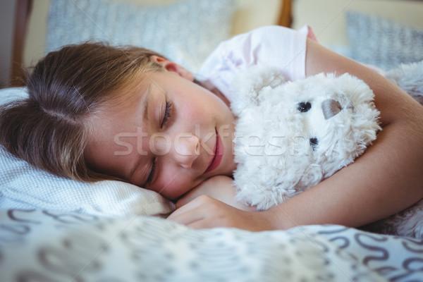 девушки мишка кровать домой любви ребенка Сток-фото © wavebreak_media