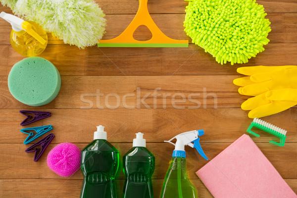 Overhead view of various cleaning equipment Stock photo © wavebreak_media