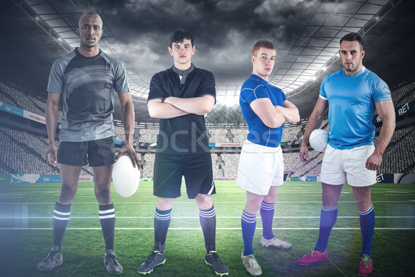 Görüntü sert rugby oyuncular stadyum Stok fotoğraf © wavebreak_media