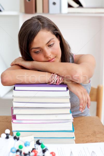 Foto d'archivio: Stanco · dormire · biblioteca · studiare · lungo · tempo