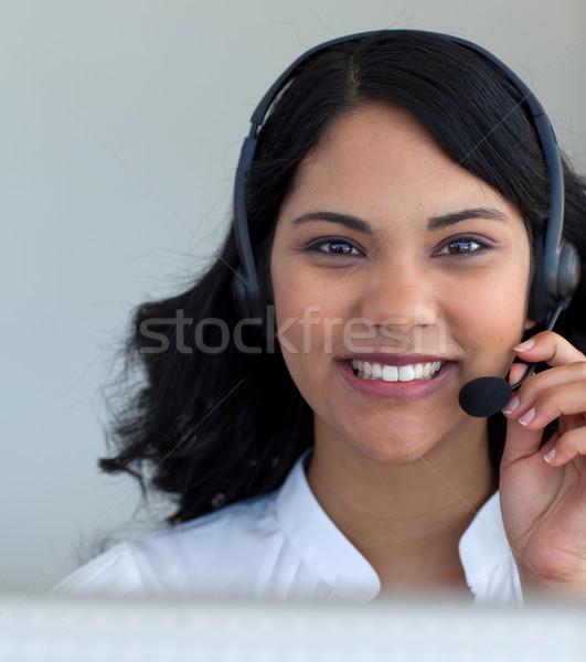 Portret kobieta interesu mówić call center zestawu biuro Zdjęcia stock © wavebreak_media