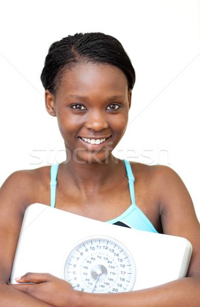 счастливым Фитнес-женщины веса масштаба белый Сток-фото © wavebreak_media
