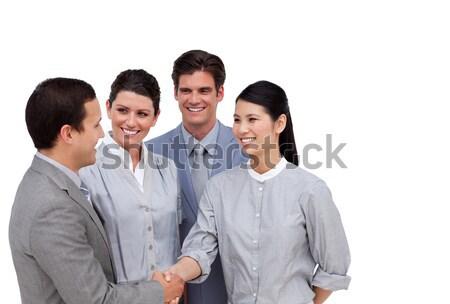 Business partner stringe la mano bianco donna ufficio mani Foto d'archivio © wavebreak_media