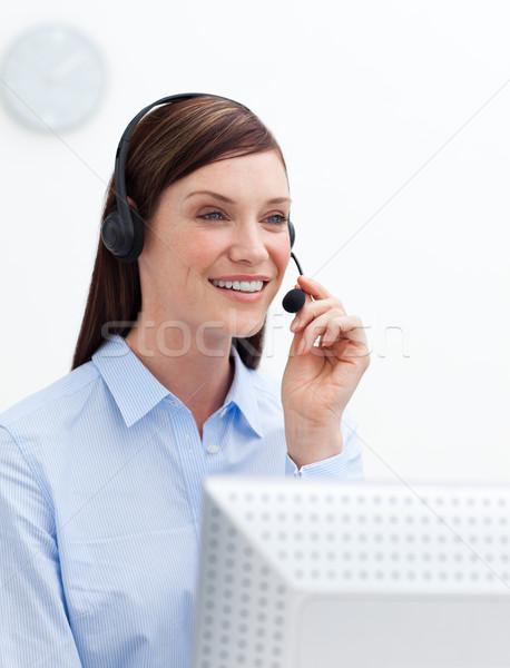 Servicio al cliente agente auricular blanco oficina Internet Foto stock © wavebreak_media