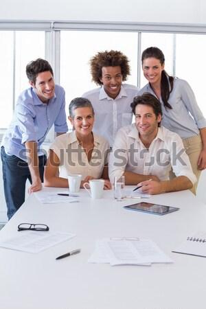 Pozitif iş ekibi eğitim belge toplantı Stok fotoğraf © wavebreak_media