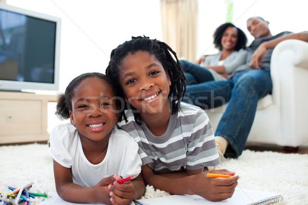 Vidám testvérek játszik padló szülők nő Stock fotó © wavebreak_media