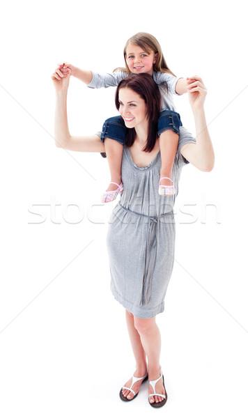 Brunette mère fille ferroutage enfants heureux Photo stock © wavebreak_media