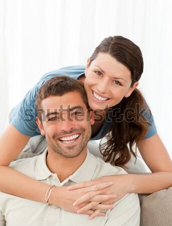 Alegre homem esposa cama menina Foto stock © wavebreak_media