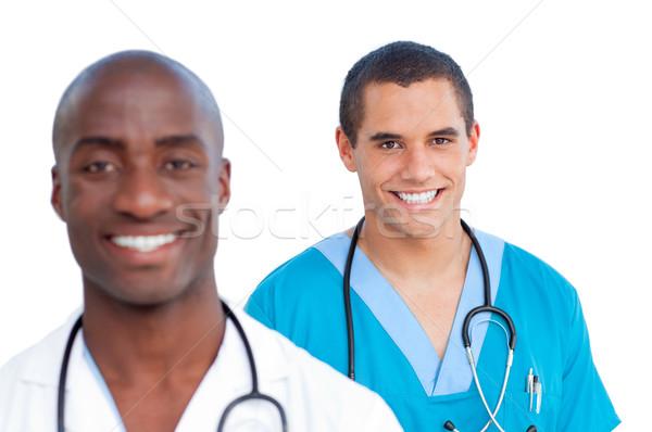 Portré bájos férfi orvosok fehér mosoly Stock fotó © wavebreak_media