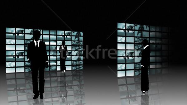 Zespołowej kobieta człowiek tłum niebieski sylwetka Zdjęcia stock © wavebreak_media