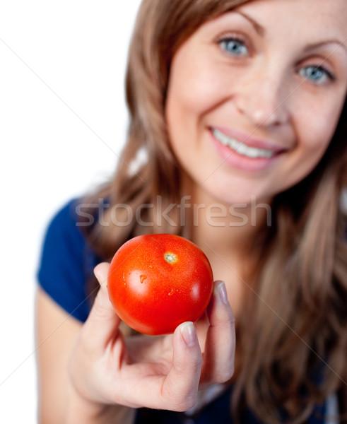 笑顔の女性 トマト 孤立した 白 食品 ストックフォト © wavebreak_media