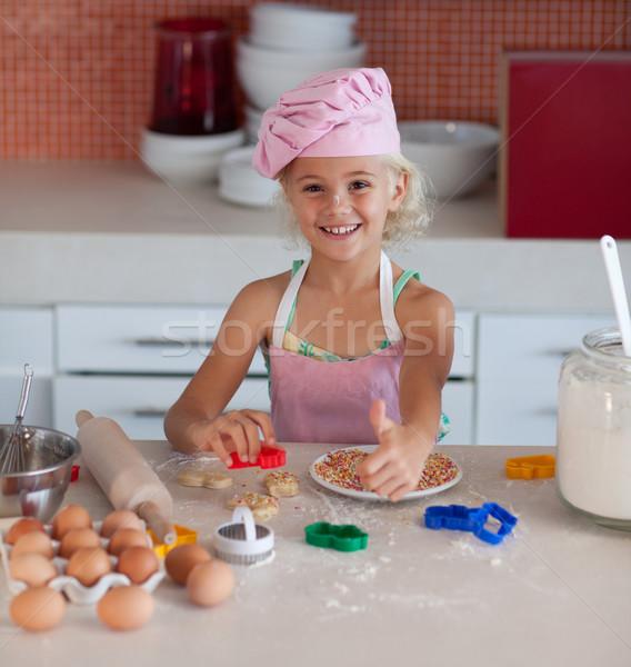 красивой рабочих кухне большой палец руки вверх Сток-фото © wavebreak_media