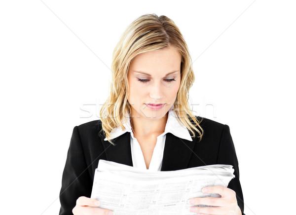 Niespokojny kobieta interesu gazety biały tle Zdjęcia stock © wavebreak_media