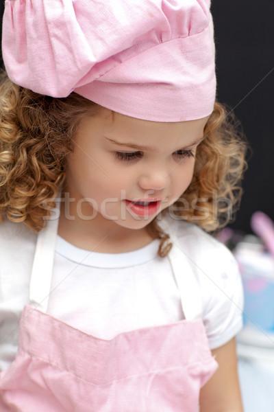Portret weinig chef home huis meisje Stockfoto © wavebreak_media