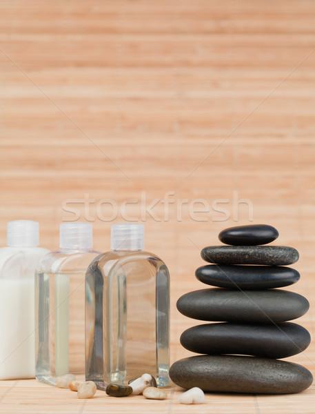 Stok fotoğraf: Cam · siyah · taşlar · bambu