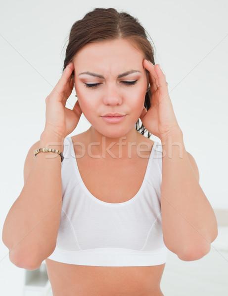 Kobieta głowy biały strony twarz muzyka Zdjęcia stock © wavebreak_media