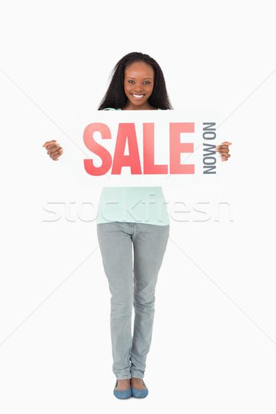 Gülümseyen kadın beyaz mutlu arka plan imzalamak Stok fotoğraf © wavebreak_media