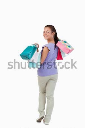 вид сзади молодые женщины белый торговых Сток-фото © wavebreak_media
