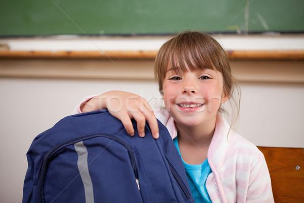 Stockfoto: Glimlachend · schoolmeisje · poseren · zak · klas · meisje