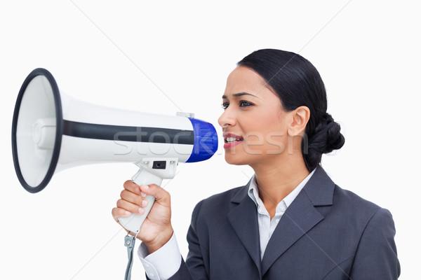 Megafon beyaz iş konuşmacı Stok fotoğraf © wavebreak_media