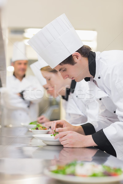 Gasztronómiai osztály tanár boldog háttér étterem Stock fotó © wavebreak_media