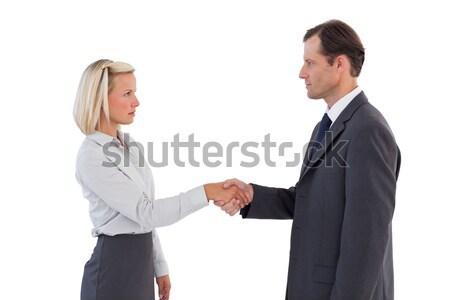 Ernstig zakenlieden handen schudden witte pak team Stockfoto © wavebreak_media