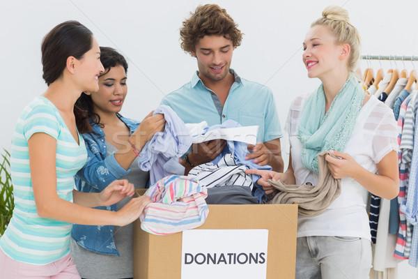 Emberek ruházat adomány csoport fiatalok iroda Stock fotó © wavebreak_media