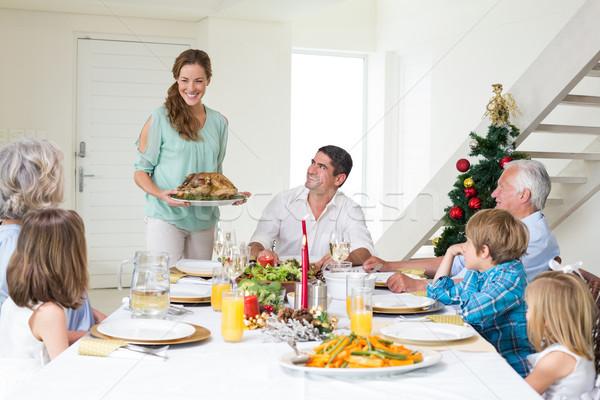 Mãe natal refeição família mesa de jantar Foto stock © wavebreak_media