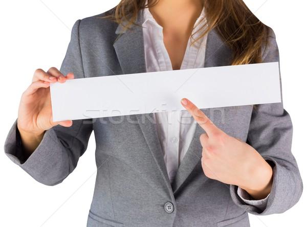 Femme d'affaires carte vierge blanche affaires femme Photo stock © wavebreak_media