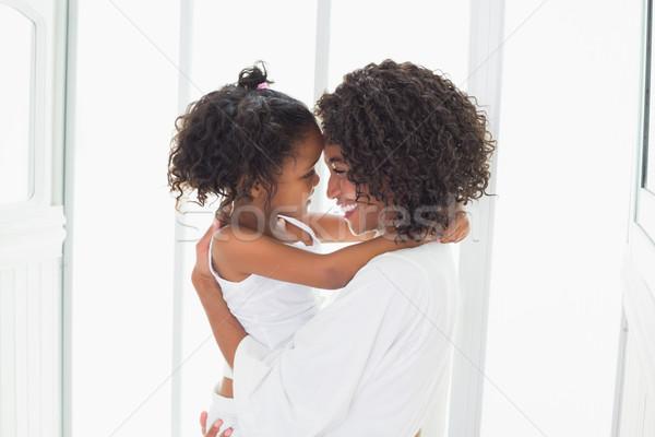 Cute meisje moeder home badkamer Stockfoto © wavebreak_media