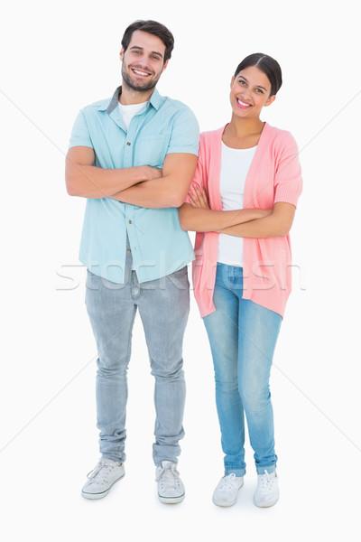 Сток-фото: счастливым · пару · белый · женщины · улыбаясь