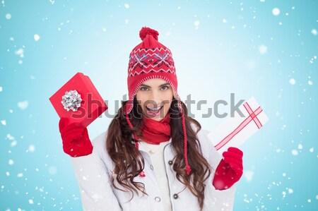 Dość ciepłe ubrania biały szczęśliwy zimą Zdjęcia stock © wavebreak_media