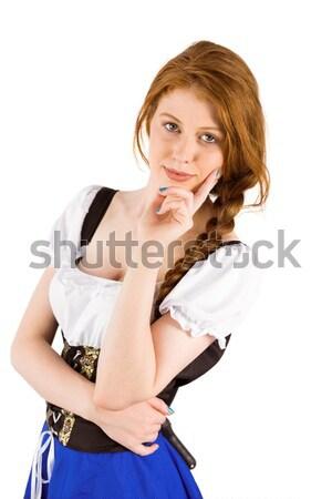 Октоберфест девушки улыбаясь камеры белый синий Сток-фото © wavebreak_media