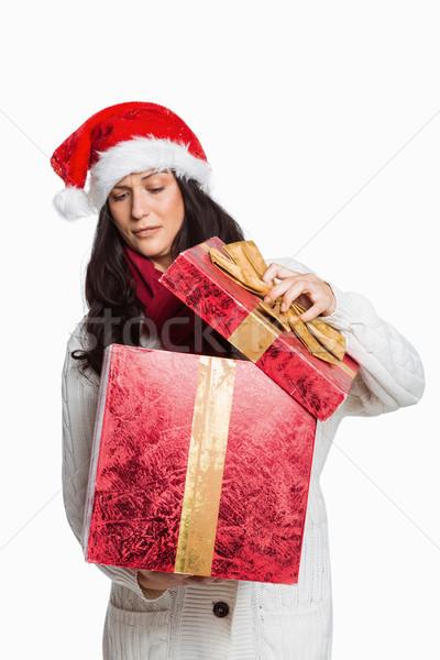 Kobieta otwarcie christmas obecnej biały Zdjęcia stock © wavebreak_media