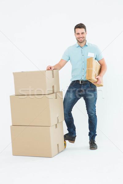 Stock foto: Kurier · Mann · Karton · Boxen · Porträt