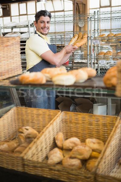 официант фартук багеты хлебобулочные Сток-фото © wavebreak_media