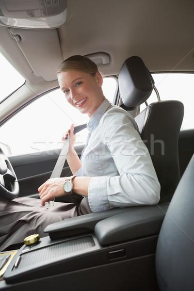 Stockfoto: Zakenvrouw · zitting · gordel · auto · vrouw · gelukkig