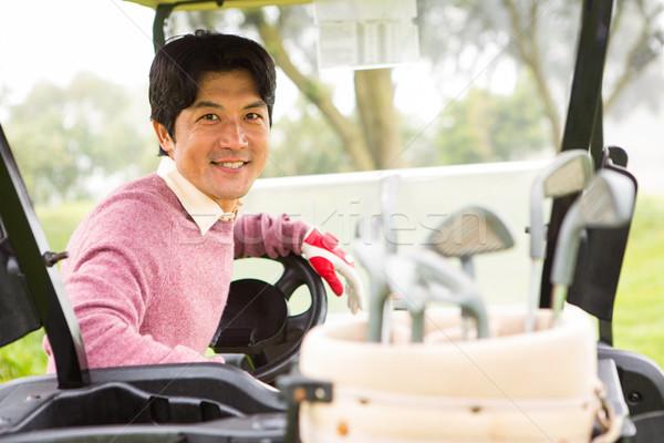 Mutlu golfçü sürücü golf gülen kamera Stok fotoğraf © wavebreak_media