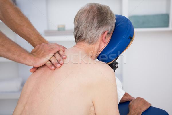 ストックフォト: 男 · 戻る · マッサージ · 医療 · オフィス · 健康