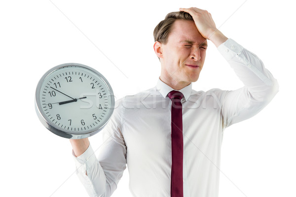 Ansioso imprenditore clock bianco uomo Foto d'archivio © wavebreak_media