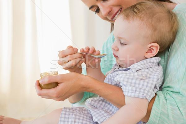 Stock fotó: Boldog · anya · eszik · baba · fiú · otthon