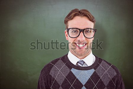Geeky hipster covered in kisses Stock photo © wavebreak_media