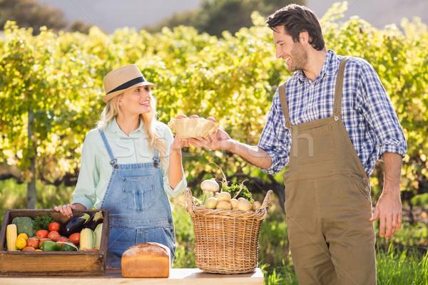 Heureux agriculteur couple oeufs locale marché Photo stock © wavebreak_media