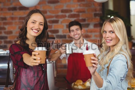 Yakışıklı garson fincan kahve kahvehane Sunucu Stok fotoğraf © wavebreak_media