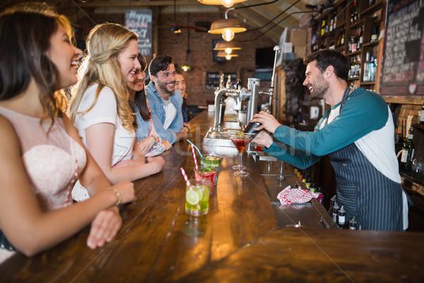 Barmen içmek bar Stok fotoğraf © wavebreak_media