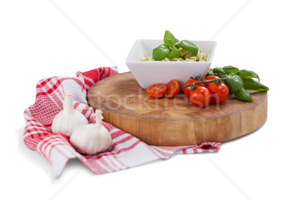 Fettuccine pasta with tomatoes, garlic and napkin cloth Stock photo © wavebreak_media