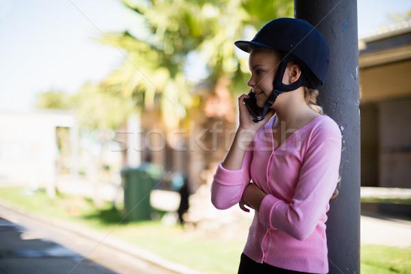 Meisje praten telefoon computer kind zomer Stockfoto © wavebreak_media